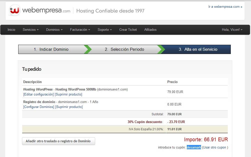 Como comprar hosting webempresa con descuento el 30 por ciento